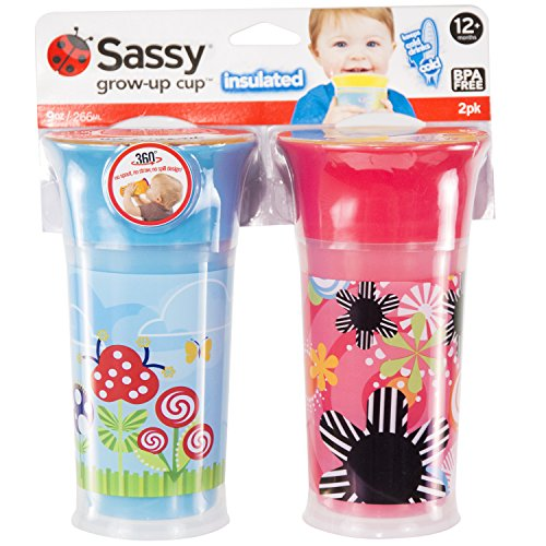 Sassy Insulated Grow Up Cup, Pink/Blue, 9 Ounce - 1
