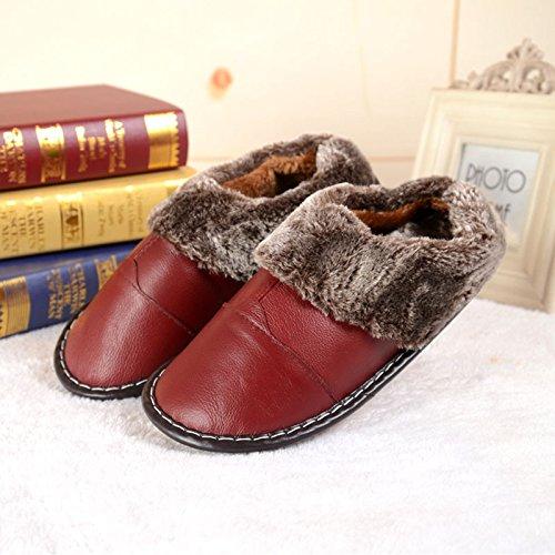 ZHLONG Coton thermique pantoufles maison casual simili cuir feuillet des femmes en automne et en hivernales les pantoufles semelle épaisse
