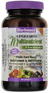 Super Earth Multinutrient Formula Iron Free Bluebonnet 90 Caplet