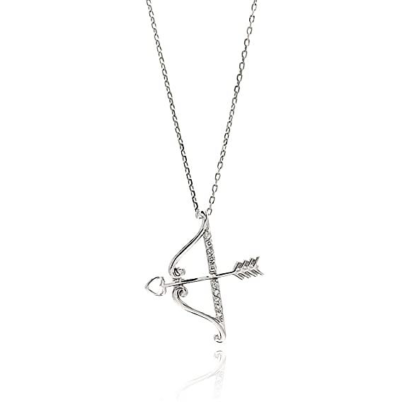Sterling Silver Open Cupid Bow and Heart Arrow CZ Charm Necklace -- $23.95 + $5.95 shipping