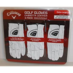 Callaway Premium Cabretta Leather Golf Gloves, Extra-Large, 3-Pack by Callaway