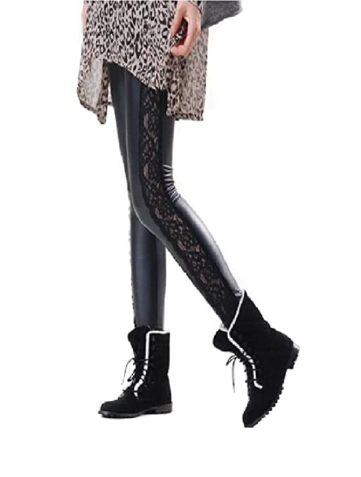 Elegant Lace Side Faux Leather Leggings