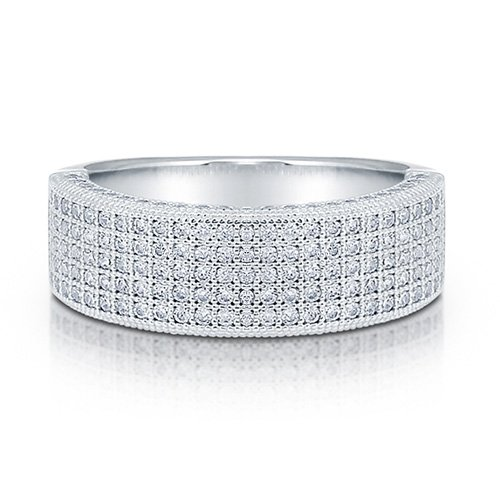 Cubic Zirconia CZ Sterling Silver Micro Pave 5-Row Half Eternity Ring - Nickel Free Engagement Wedding Band Ring Size 5