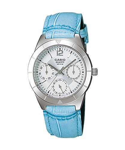 CASIO Collection LTP-2069L-7A2VEF - Reloj de mujer de cuarzo, correa de piel color azul claro