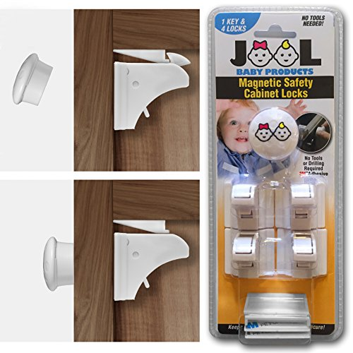 JOOL Childproof Magnetic Cabinet Locks Set with 4 Locks & 1 Key - Drill & Tool Free - Baby Safety
