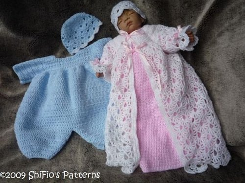 Twin Christening Set Baby Crochet Pattern 120 USA
