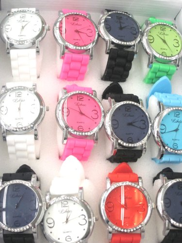 Set Of One Dozen 25% Discount Silicone Rubber Gel Watch Link Look Ceramic Style. Color Of Face Coordinates With Band Color. Top And Bottom Of Bezel Are Diamond Studded. Includes 12 Pouches.