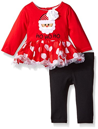 Youngland Baby Girls' Santa Applique Dress and Solid Legging Set, Red/Black, 3-6 Months