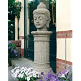 Large Garden Sculptures - Stone Buddha Head Statue on Plinth