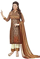 Shaily Retails Women's Bollywood Brown Cotton Printed Dress Material