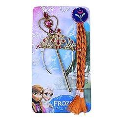 Snow Queen Elsa Anna Cosplay Accessories/Tiara, Wand and Wig Hairpiece 3 Pc Set (Anna (Crown+Hair+Magic Wand))