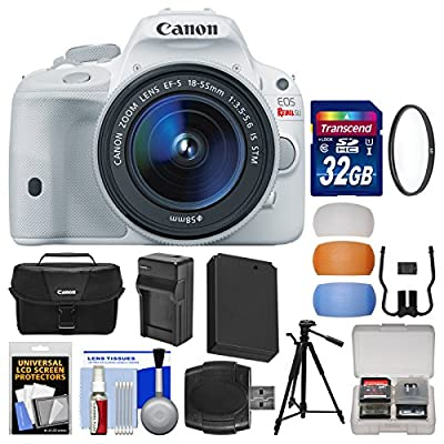 Canon EOS Rebel SL1 Digital SLR Camera & EF-S 18-55mm IS STM Lens (White) with 32GB Card + Case + Battery & Charger + Tripod + Filter + Kit