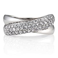 Sterling Silver Cubic Zirconia CZ X Design Ring
