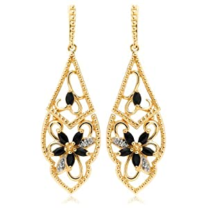 Yellow Gold Plated Sterling Silver Sapphire and Diamond Accent Flower Dangle Earrings