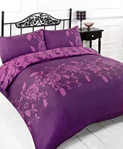 AUBERGINE PLUM EASY CARE PRINTED DOUBLE DUVET COVER BED SET
