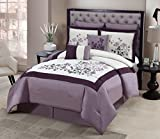 Geneva Home Fashion 8-Piece Aaron Embroidered Comforter, Queen, Purple