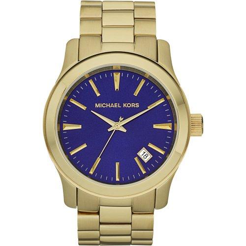 Michael Kors MK7049 Mens Gold Plated Blue Dial Bracelet Watch