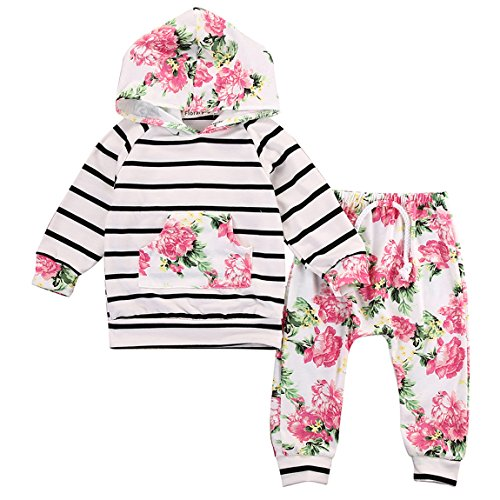 Newborn Baby Girls Floral Hooded Top + Pants Outfits Set Kids Clothes (6-12M, Floral)