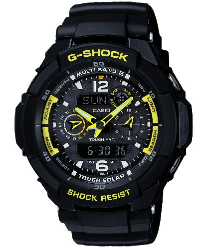 Casio Men&#8217;s GW3500B-1A G-Shock Aviator Series Analog-Digital Black and Yellow Watch