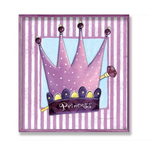 The Kids Room by Stupell Purple Princess Crown with Stripes and Polka Dots Rectangle Wall Plaque