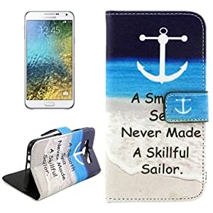 Crazy4Gadget Letters Hanging on the Seabeach Pattern Cross Texture Leather Case with Holder & Card Slots for Samsung Galaxy E5