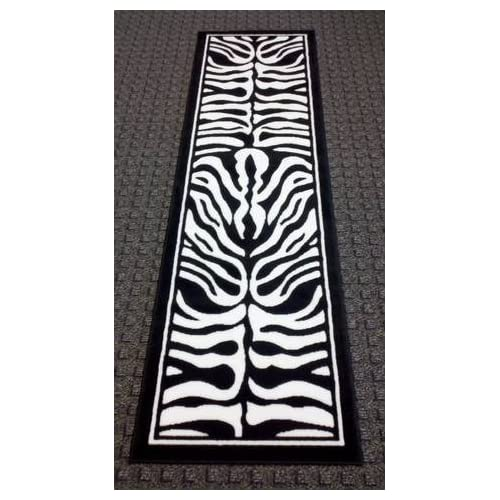 Zebra Black & White Area Rug Runner 2 Ft. X 7 Ft. 3 In. Design #132