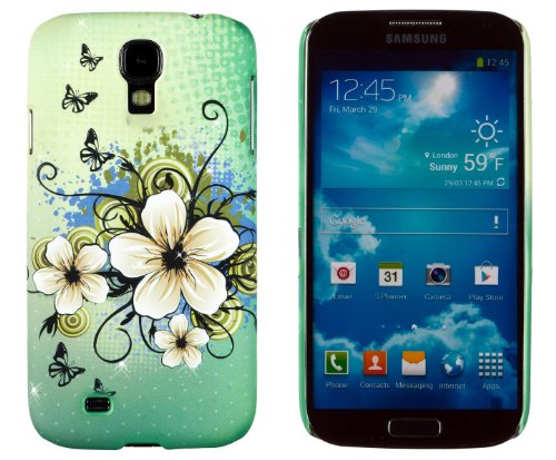 Embossed Print Slim Fit Hard Case For Samsung Galaxy S4 [Retail Packaging By Dandycase With Free Dandycase Keychain Lcd Screen Cleaner] (Green Hawaiian Flower)