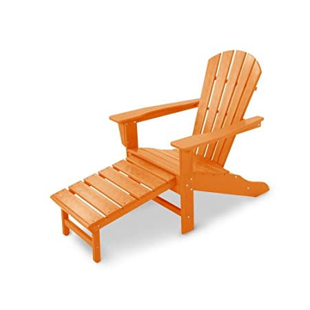 CASA BRUNO South Beach II Ultimate Sillón Adirondack con reposapiés extensible, HDPE Poly-madera, naranjo - resistente a la intemperie