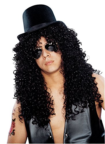 Men's Curly Black Rocker Wig - hat sold separately.