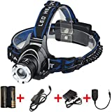 LED Headlamp with Rechargeable Batteries and Car Charger and Ac Charger and USB Cable Adjustable Zoomable 3 Modes Super Bright Headlight Hands Free Flashlight