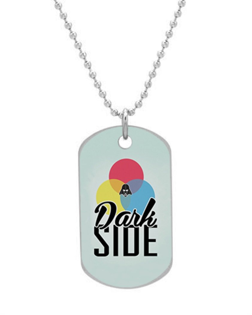Dark Side Custom Oval Dog Tag (Bigger Size) Pet Tag Neck Chain Key Chain Aluminum Dog Tag Dimensions 1.3X2.2X0.1 inches ,Comes with 30 inches beads chain