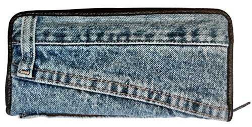 Bijoux De Ja Women Blue Denim Money Zip Around Wallet Wristlet Purse Clutch (Target Wallet compare prices)