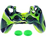 GBSELL 1PC Silicone Case Cover +2PC Rocker Cap For Playstation PS4 Controller (Green)