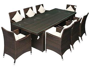 """Gartenmöbel Essgruppe mit 2,4 m Tisch aus Aluminium """"Rostfrei"""" Rattan Modell """"Palermo"""" incl. 8 Stuhle"""