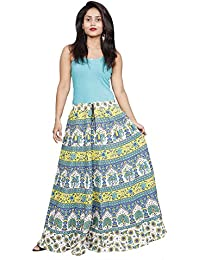 Flavia Creation Pure Cotton Block Printed Hot Dyed Handcrafted Fashion Long Skirt- Assorted Designs- Free Size - B06XWFHDLJ