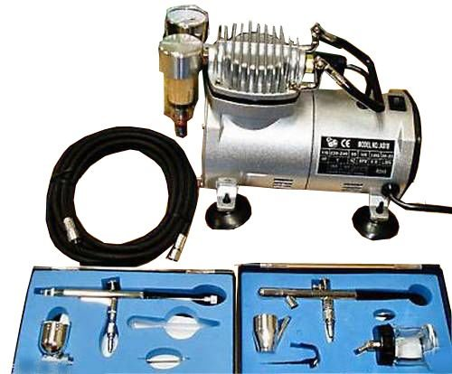 KMS Airbrush Kit AS18 With Compressor and 2 x Double Action Airbrushes and Hose
