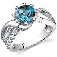 Regal Helix 1.50 carats London Blue Topaz Ring in Sterling Silver Size 5 to 9 Free Shipping