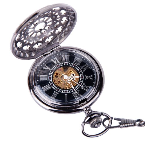 Antique Look Pocket Watch ,With Fashion Chain& Mechanical Hand Wind Half Hunter,Value Quality!