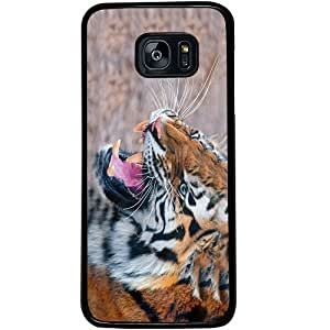 Casotec Tiger Aggression Design 2D Hard Back Case Cover for Samsung Galaxy S7 Edge - Black
