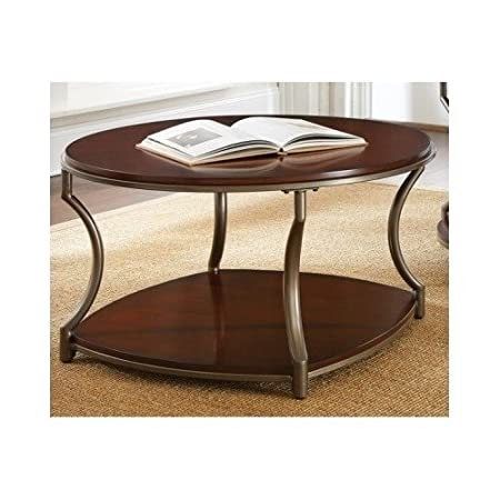 Cherry Wood Coffee Table Round Living Room Open Bottom