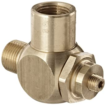 "Parker 032510375 3251 Series Brass Right Angle Flow Control Valves, 3/8"" NPT Male x Female, 125 psi"