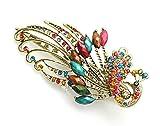 Ecloud Shop® Joyería de la aleación de cristal del color del pavo real de la vendimia del Rhi