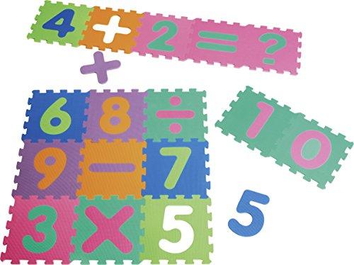 Playshoes 308745 - Puzzlematte Zahlen mit Rechenzeich, 16 teilig