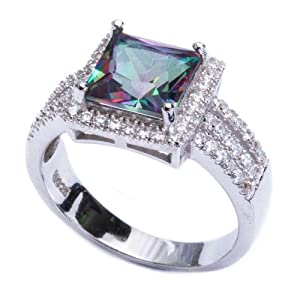 .925 Sterling Silver 5.50ct Princess Cut Rainbow Colored CZ & Cz Ring Size 8