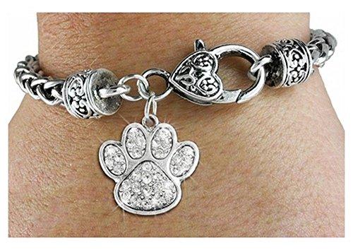 Beautiful Paw Print Crystal Charm & Bracelet (Cheap Cheerleader Pom Poms)