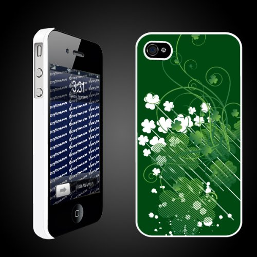 iPhone 4/4s Case   St. Patricks Theme   Shamrock   White Protective Phone Case