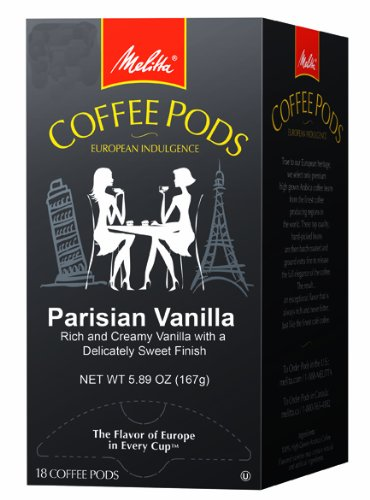 Melitta Coffee Pods, Parisian Vanilla Flavored Coffee, Medium Roast, 18-Count (Pack of 4)