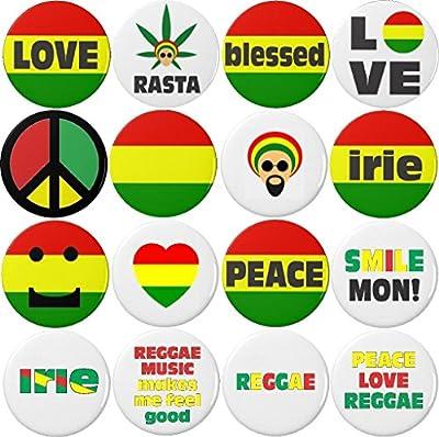 Set 16 Jamaican Reggae Ska Rastafarian Irie Peace Love Themed Magnets