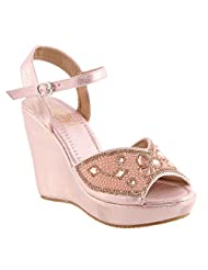 Belson Satin Pink Party Wear Wedges For Women