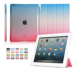 Segro Ultra Slim Case for Apple iPad 4th Generation with Retina Display, iPad 3 & iPad 2 with Translucent Frosted Back Stand Cover Wake / Sleep, Rose/Blue